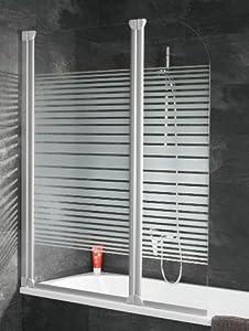 Schulte D1653 Badewannenfaltwand Badewannenaufsatz 2tlg. 1150x1400, Echtglas Dekor Querstreifen, Profilfarbe alunatur  BaumarktKundenbewertung und weitere Informationen