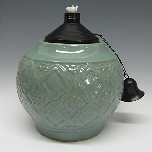 9 In Ceramic Table Top Torch With Blue Glaze Home Garden