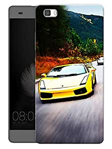 """Humor Gang Yellow Sports Car Printed Designer Mobile Back Cover For """"Huawei P8"""" (3D, Matte, Premium Quality Snap On Case)"""
