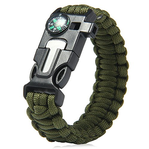 Wooboo 5 in 1 Outdoor Survival Gear Escape Paracord Bracelet Flint Whistle Compass Scraper (Army Green) (Lime Green Whistle compare prices)
