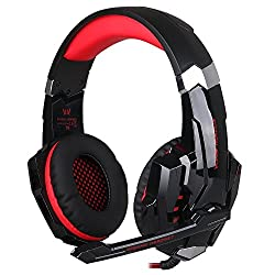 Kotion Each G9000 Over Ear Gaming Headphones with Mic and LED (Black/Red) compatible with PC, iPad, iPhone, Tablets, Mobile Phones
