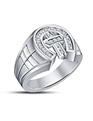 14k White Gold Over Round Cut Cross Men's Ring 925 White Cz Form Vorra Fashion