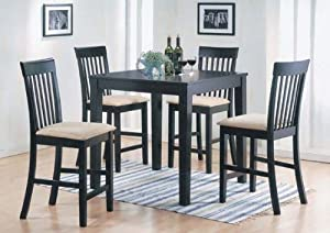 5 Piece Espresso Wood Counter Height Dinette Set - Table And 4 Chairs