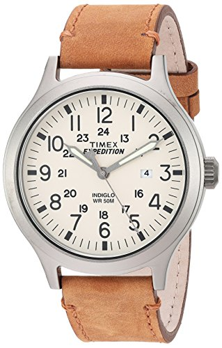 Timex Men's TW4B06500 Expedition Scout 43 Tan/Natural Leather Strap Watch