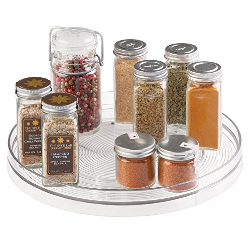 Mdesign lazy susan turntable spice organizer for kitchen pantry cabinet new ebay - Spice rack for lazy susan cabinet ...