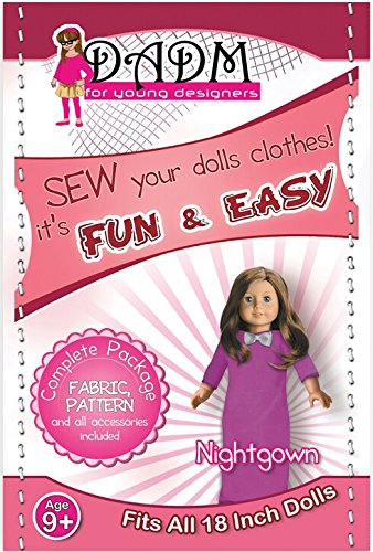 Sewing kit for girls, 18 Inch Doll Pattern, and Fabric, Nightgown, Fits American Girl Doll (Purple) (American Doll Sewing Kit compare prices)