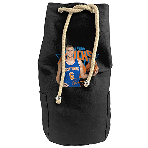 HotChill Kristaps #6 Porzingis Vertical Bucket Cylindrical Shaped Canvas Drawstring Sports Shoulders Backpack Bags Black (How To Draw Olaf compare prices)