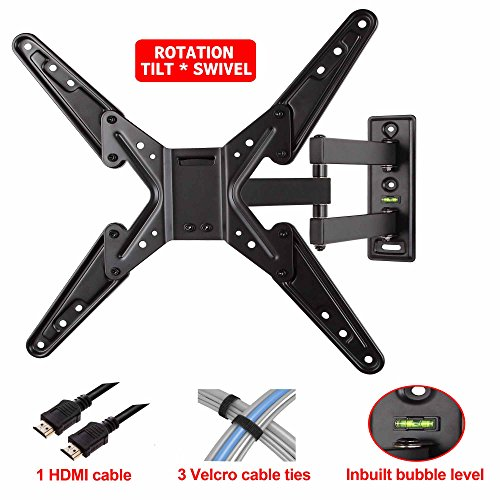"Mounting Dream® Md2413-Mx Tv Wall Mount Bracket With Full Motion Articulating Arm (20"" Extension) For 26-55 Inches Led, Lcd And Plasma Tvs Up To Vesa 400X400Mm And 66Lbs, With Tilt, Swivel, And Rotation Adjustment, Including 6 Ft Hdmi Cable And Built In B"
