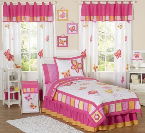 pink and orange butterfly bedding
