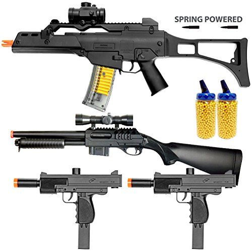 BBTac Airsoft Gun Package - The Operator - Collection of 4 Airsoft Guns - Powerful Spring Rifle, Shotgun, Two SMG, 4000 BB Pellets, Great for Starter Pack Game Play (Bb Gun Pistol Glock compare prices)
