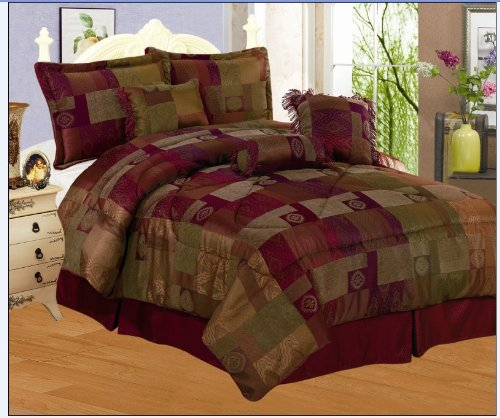 7 Pieces Sage Green, Burgundy, Gold And Eggplant Purple Chenille Comforter  Set Bed