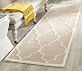 "Safavieh Cambridge Collection CAM134J Handmade Moroccan Geometric Beige and Ivory Premium Wool Area Rug (2'6"" x 4')"