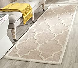 Safavieh Cambridge Collection CAM134J Handmade Beige and Ivory Wool Area Rug, 2 feet 6 inches by 4 feet (2\'6\