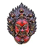 Collectible India Mahakala Wall Hanging Mask, Tibet Bhairav Shiva Wall Sculpture, Buddhism Tibetan Antique Finish Handicrafts