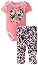 Disney Baby Girls  Minnie Mouse Animal Printed Bodysuit and Pant Set, Pink, 0-3 Months