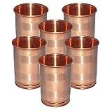 Set Of 6 - Prisha India Craft ® DIWALI GIFT Drinking Copper Glass Tumbler Handmade Water Glasses - Traveller's...