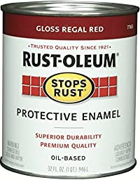 Rust-Oleum 7765502 Protective Enamel Paint Stops Rust, 32-Ounce, Gloss Regal Red - 2 Pack