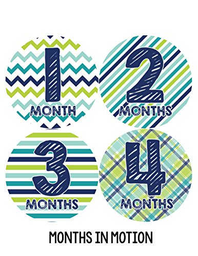 Months in Motion 003 Monthly Baby Stickers - Baby Boy - Months 1-12 - Milestone Sticker