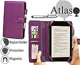 Navitech docomo Sharp AQUOS PAD SH-06F 用カードホルダー付合皮手帳ケース&スタイラス セット (ケースご利用中にdocomo AQUOS PAD SH-06Fの裏カメラご利用できません)(紫)
