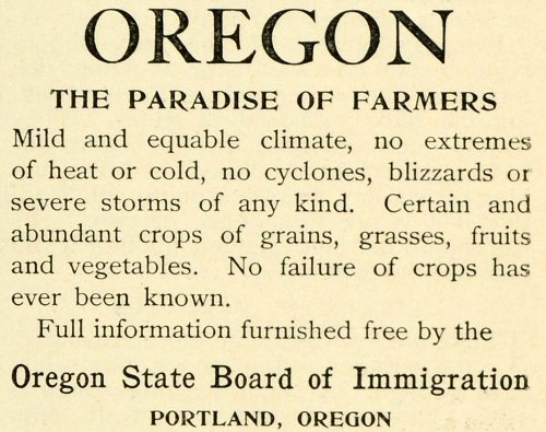 1893 Ad Portland Oregon Chamber Commerce Agriculture Climate Farmer'S Paradise - Original Print Ad