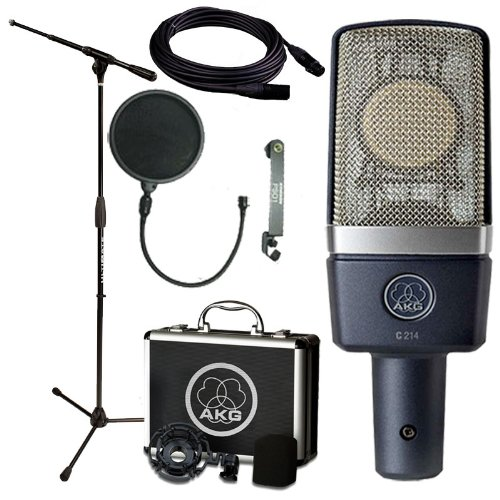 Akg C214 Cardioid Condenser Studio Microphone W Ultimate Support Pro Tt Stand, Pop Screen & Mogami Cable