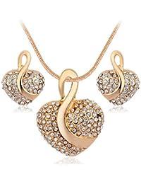 Gold Finish Heart Romantic Butterfly Pendant Necklace Jewelry SetALPE0060GO