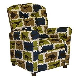 Brazil Furniture Brazil Furniture 4 Button Back Child Recliner - Stellar Rex, Blue, Fabric