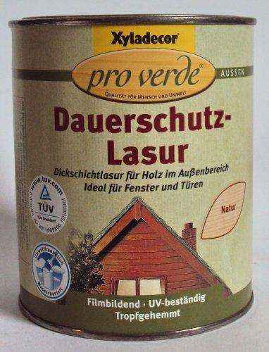 Xyladecor pro verde Dauerschutzlasur, Dickschichtlasur f. Fenster und Türen, Wasserbasis, Natur / 750 ml