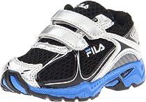 Fila Trexa Lite Strap Sneaker (Toddler),Black/Metallic Silver/Campanula,8 M US Toddler