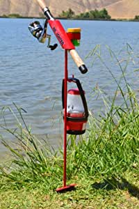 minifighter fishing rod holder red sports