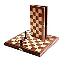 WE Games Travel Magnetic Folding Walnut Wood Chess Set