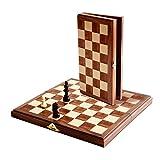 WE Games Travel Magnetic Folding Walnut Wood Chess Set