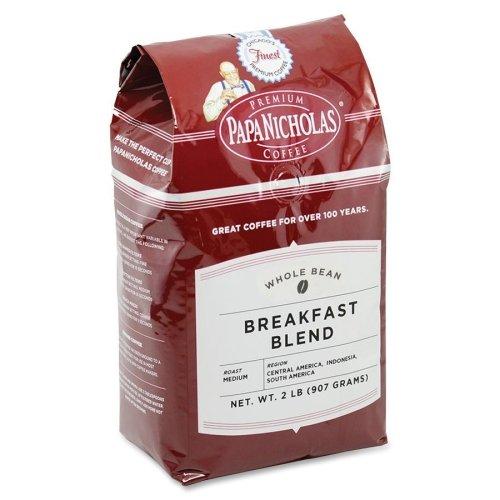 Papanicholas Coffee Breakfast Blend Whole Bean Coffee - Regular - Breakfast Blend, Arabica Bean - Light/Mild - 1 Each