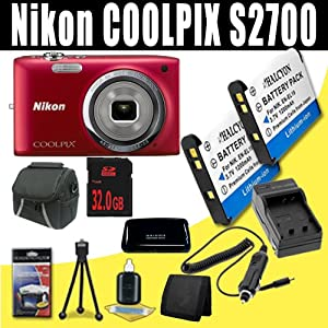 Nikon COOLPIX S2700 16 MP Compact Digital Camera with 6x Zoom NIKKOR Glass Lens and 2.7-inch LCD (Red) Two 1200 mAh EN-EL19 Replacement Lithium Ion Battery + External Rapid Charger + 32GB SDHC Class 10 Memory Card + Carrying Case + SDHC Card USB Reader + Memory Card Wallet + Deluxe Starter Kit Bundle DavisMAX Accessory Kit