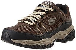 Skechers Sport Men\'s Afterburn Strike Memory Foam Lace-Up Sneaker, Brown/Black, 12 M US
