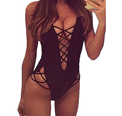 TomYork Black Lace Up Detail One Piece Swimsuit(Size,M) (Slang Of The 1960s)