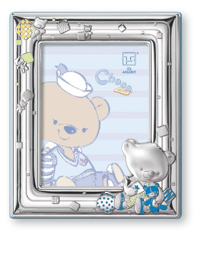 "Silver Touch USA Sterling Silver Picture Frame, Choco Bear Playing with Toys, 4"" X 6"""