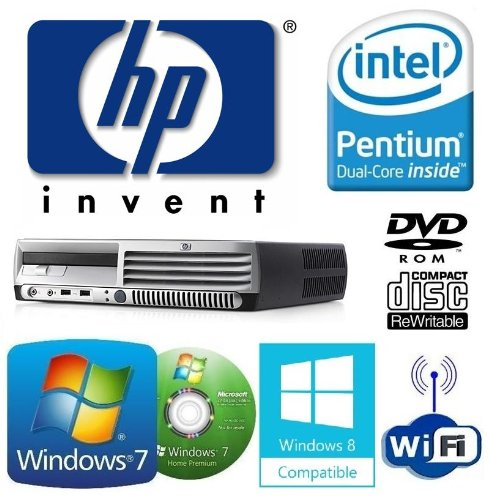 Windows 7 - HP dc7700 Ultra-Slim Desktop Computer - Intel Pentium Dual-Core E2160 Processor - 80GB Hard Drive - 2GB Memory (RAM) - DVD/CD-RW Combo Drive - WiFi USB Adapter Installed for Wireless Internet Access - Genuine Windows 7 Installation/Restore Dis