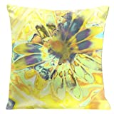 Lama Kasso 759 Light Yellow Daisy Square Super-Suede Pillow, 18-Inch