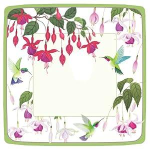Entertaining with Caspari Hummingbirds Paper Square Dinner Plates, Pack of 8