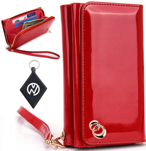 Great Price Apple iPhone 5S Women's Uptown Wristlet Wallet Clutch with Dual Compartment, Built-In Credit Card Slots and Internal Zipper Pocket. Includes one Detachable Wrist Strap. Color: Red Patent Leather + NuVur ™ Keychain (SUNIWMR1)