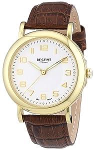 Regent Herren-Armbanduhr XL Analog Handaufzug Leder 11010020
