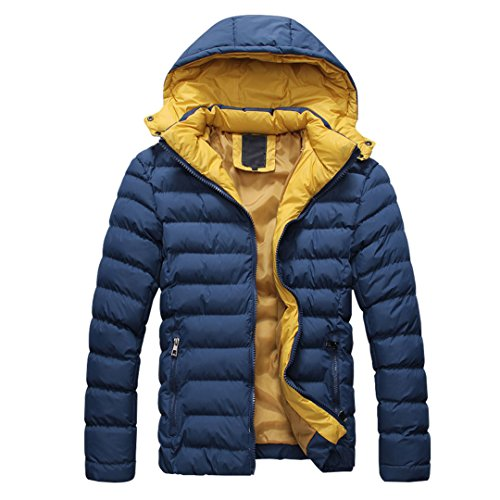 SODIAL (R) 2015 Uomo Cappotto Piumino di inverno cappotto Piumino da uomo caldo con cappuccio blu scuro M