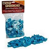 """Scrabble Tiles - Full Set of 100 """"Cheat Proof"""" Plastic Pro Grade Tiles (Blue) - Never Use Wooden Tiles Again"""