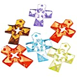 DIY Jewelry Making: 10 pcs of Transparent Acrylic Pendants, Faceted, Cross, Mixed Color, about 34mm long, 24mm wide, 6mm thick, hole: 2mm
