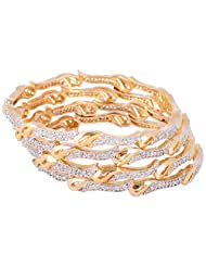 Bharat Sales Gold Plated White Alloy Bangles For Women - B00YPAU49I