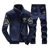 SemiAugust(セミオーガスト)メンズ スウェット長袖ジャケット ロングパンツ 秋冬 新品 着ごこち抜群 シンプルディザイン 男性用 カラーはダークブルー サイズは3XL