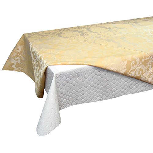 Violet linen deluxe quilted table pad with fiber backing for Table runners 52 inches
