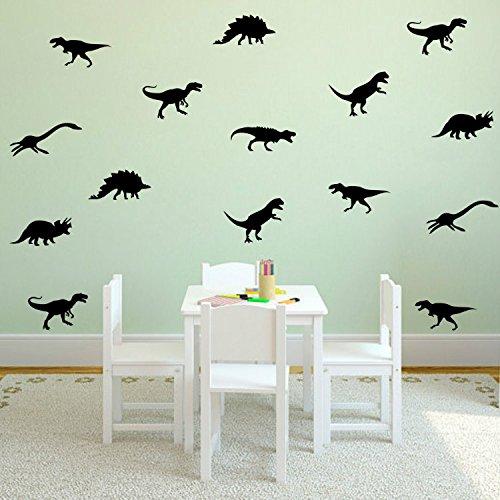Yanqiao Cartoon Set of 9 PCS Removable DIY Cute Cartoon Animals Vinyl Dinosaur Wall art Decor Decals Kids' Room Wall Stickers Murals Peel & Stick art for Living Room Nursery Room Bedroom