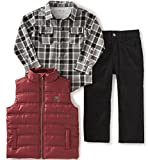 Calvin Klein Baby Boys Shirt, Vest and Corduroy Pants Set, Red, 18 Months